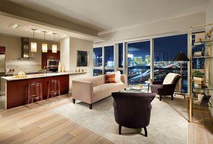 Contemporary Living Room with High ceiling, Built-in bookshelf, Carpet, Pendant light, Laminate floors