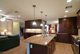 Modern Kitchen with Raised panel, Glass panel, Pendant light, Complex granite counters, Standard height, Kitchen island