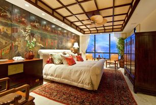 Asian Guest Bedroom with Exposed beam, Ellsworth Fabric Sliegh Bed with Footboards, interior wallpaper, Concrete tile