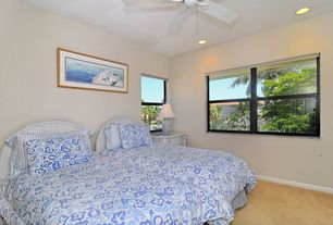 Cottage Guest Bedroom with can lights, Ceiling fan, Standard height, Carpet, double-hung window