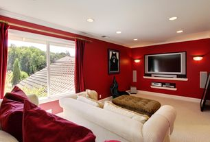 Modern Home Theater with Wall sconce, Carpet