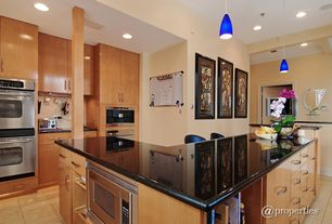 Contemporary Kitchen with full backsplash, Pendant light, European Cabinets, double wall oven, Built-in bookshelf, can lights