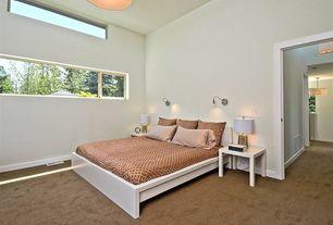 Modern Guest Bedroom with Standard height, Carpet, bedroom reading light, Pendant light, specialty window, Casement