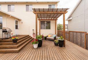 Craftsman Deck with Fence, Outdoor kitchen, Glass panel door, Trellis, Casement, Paint
