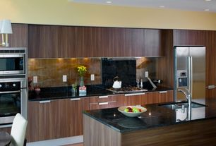 Contemporary Kitchen with Standard height, One-wall, can lights, Kitchen island, Flush, Undermount sink, Stone Tile