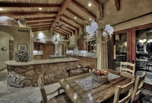 Eclectic Kitchen with Undermount sink, U-shaped, Concrete floors, Exposed beam, Large Ceramic Tile, Raised panel, Custom hood
