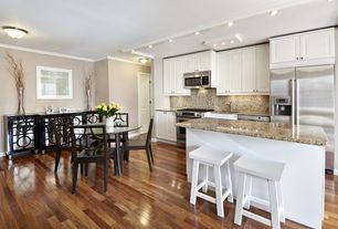 Traditional Kitchen with White zen stool, Worlds Away Ava Mirrored Buffet, Kitchen island, Plow & Hearth Saddle Seat Stool