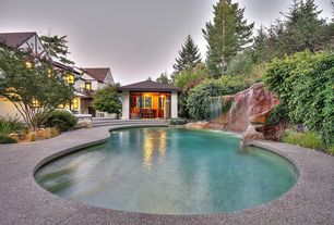 Modern Swimming Pool with Gazebo, exterior stone floors