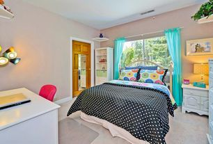 Eclectic Kids Bedroom with Carpet