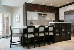 Contemporary Kitchen with Flat panel cabinets, Flush, Frosty carrina 5141, Breakfast bar, Vinyl floors, Glass panel door