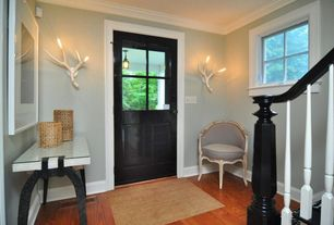 Contemporary Entryway with Superordinate antler sconce, Paint, Crown molding, Standard height, Casement, Glass panel door