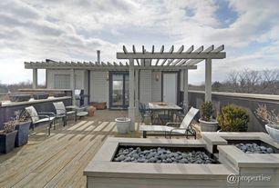 Modern Deck with Casement, Trellis, sliding glass door, Fence
