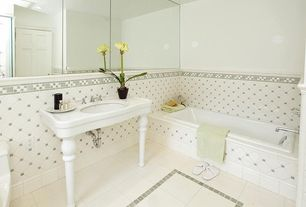 Traditional Full Bathroom with Daltile Matchpoint Ivory White Polished Porcelain Tile, tiled wall showerbath, Console sink