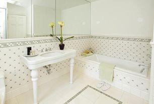 Traditional Full Bathroom with six panel door, bathroom sink, Standard height, Console sink, can lights, Bathtub
