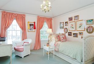 Traditional Kids Bedroom with Standard height, Crown molding, complex granite floors, double-hung window, Chandelier