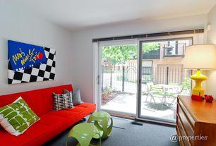 Eclectic Living Room with Carpet, Standard height, sliding glass door