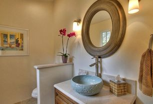 Contemporary Powder Room with Limestone counters, Standard height, Casement, Vessel sink, Limestone, partial backsplash