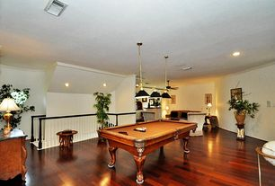 Traditional Game Room with Crown molding, can lights, Hardwood floors, Standard height, Pendant light