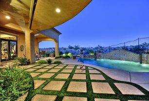 Contemporary Swimming Pool with Raised beds, exterior stone floors, Other Pool Type, Fountain, sliding glass door, Pathway