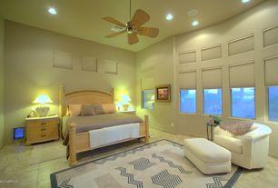 Modern Guest Bedroom with Ceiling fan, slate floors, flush light, High ceiling