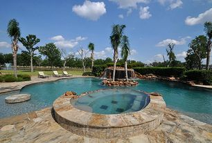 Contemporary Swimming Pool with Fence, Pool with hot tub, exterior stone floors