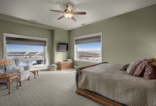 Cottage Guest Bedroom with Carpet, Ceiling fan