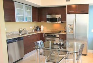 Contemporary Kitchen with Flush, Simple granite counters, Stainless undermount 2-basin sink, High ceiling, L-shaped