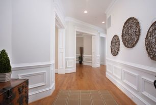Traditional Hallway with Wainscotting, Carpet, Crown molding, Armstrong Flooring - Northern White Oak in Gunstock