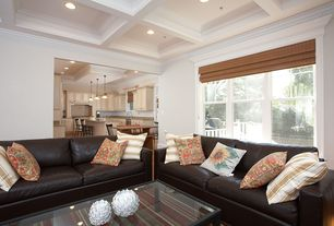 Modern Living Room with Crown molding, Carpet, Box ceiling
