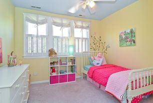Modern Kids Bedroom with Carpet, Chandelier, Ceiling fan, Standard height, no bedroom feature, specialty window