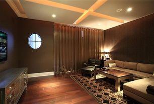 Contemporary Home Theater with Exposed beam, Transom window, Laminate floors, Carpet, Surya fallon seafoam area rug