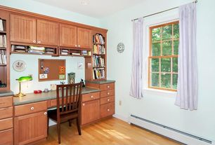 Country Home Office with Built-in bookshelf, Hardwood floors