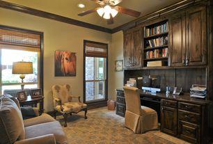 Craftsman Home Office with Casement, Ceiling fan, picture window, can lights, Built-in bookshelf, Concrete tile , flush light