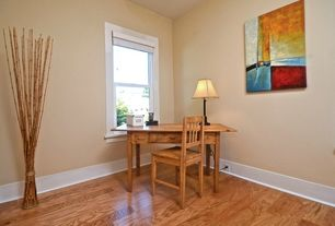 Craftsman Home Office with Hardwood floors