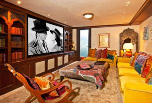 Living Room with Crown molding, Carpet, flush light, can lights, Standard height, Built-in bookshelf, Glass panel door