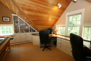 Cottage Home Office with Built-in bookshelf, Carpet