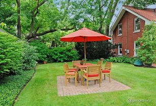 Traditional Patio with exterior brick floors, double-hung window, Raised beds