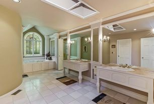 Traditional Full Bathroom with six panel door, large ceramic tile floors, Paint, Simple marble counters, Bathtub, Shower