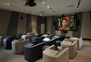 Contemporary Home Theater with Paint 2, Carpet, Standard height, Pendant light, Osp designs alexandria end table, Paint 1