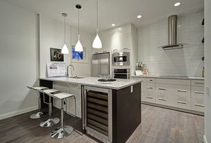 "Contemporary Kitchen with White Oak Grey White Wash 9/16"" x 5"" x 1.5'  Distress/Scraped Engineered Prefinished Flooring"