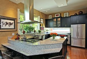 Modern Kitchen with Ms international - blanco perla granite, Flat panel cabinets, Simple granite counters, Farmhouse sink