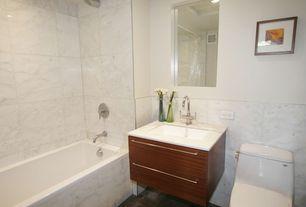 Contemporary Full Bathroom with Standard height, Full Bath, tiled wall showerbath, stone tile floors, Flush, Wall Tiles