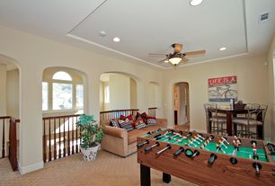 Traditional Game Room with Standard height, Carpet, Ceiling fan, can lights, terracotta tile floors