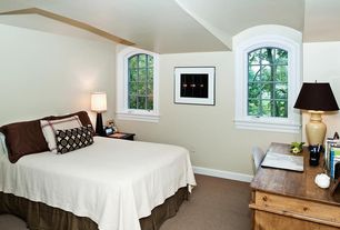 Eclectic Guest Bedroom with Arched window, High ceiling, Carpet