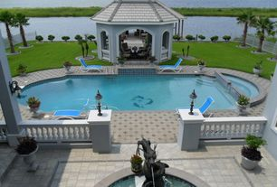 Tropical Swimming Pool with Gazebo, Fountain, Fence, exterior tile floors, exterior terracotta tile floors, Pool with hot tub