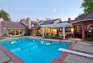 Traditional Swimming Pool with exterior brick floors, exterior stone floors, French doors, Trellis