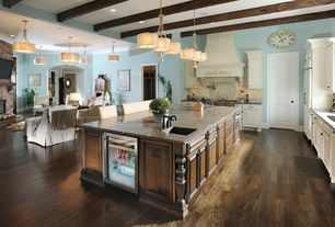 Craftsman Kitchen with Vanalen 3-light Island Lighting Fixture, Breakfast bar, Kitchen island, Simple granite counters