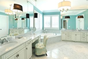 Contemporary Master Bathroom with Casement, Undermount sink, Paint, Bathtub, Chandelier, Concrete tile , specialty door