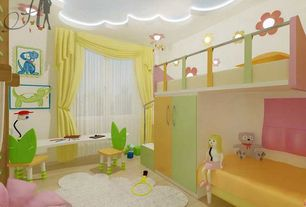 Contemporary Kids Bedroom with High ceiling, Fur accents - cloud rug, Mural, Carpet, flush light