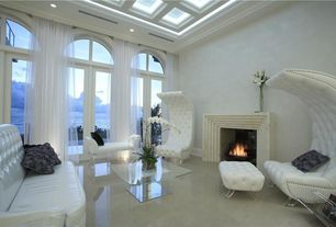 Contemporary Living Room with Skylights, Coffered ceiling with glass, Travertine fireplace mantel, Arched transom window